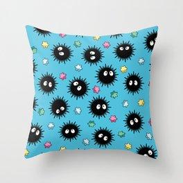 Soot Sprites (Light Blue) Throw Pillow