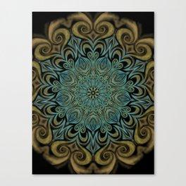 Teal and Gold Mandala Swirl Canvas Print