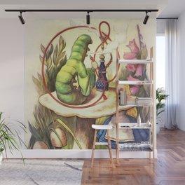 Alice & The Hookah Smoking Caterpillar - Alice In Wonderland Wall Mural