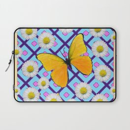 Yellow Butterfly on  Blue-pink Shasta Daisy Abstract Pattern Laptop Sleeve