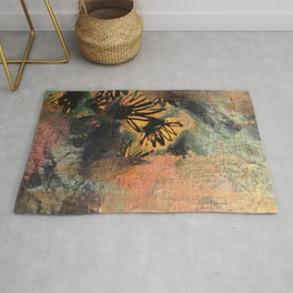 Grow Through It: sunflowers in the rain - abstract mixed media piece Rug
