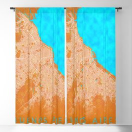 Buenos Aires, Argentina, Gold, Blue, City, Map Blackout Curtain