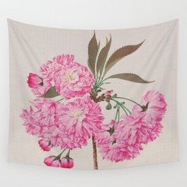 Barrier Mountain Cherry Blossoms Watercolor Wall Tapestry
