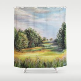 Square Bales Golden Serenity Shower Curtain