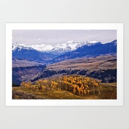 Mountain majesty and autumn gold Art Print