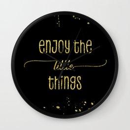 TEXT ART GOLD Enjoy the little things Wall Clock