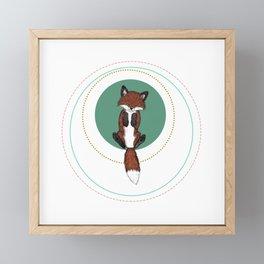Baby Fox in Rings Framed Mini Art Print