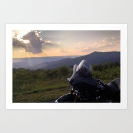 Harley on Skyline Drive Art Print
