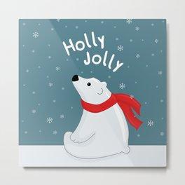 Polar Bear - Holly Jolly Metal Print