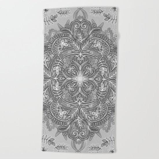 Vintage Winter Monochrome Doodle Beach Towel