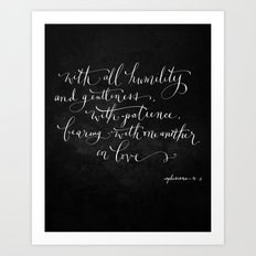 Bearing in Love // White on Black Art Print