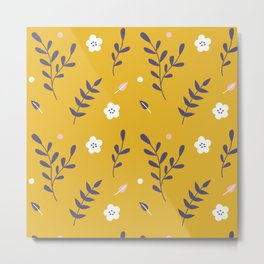 Mustard Floral Pattern Metal Print