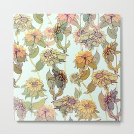 Fowers pattern in Blue Metal Print
