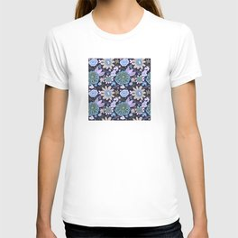 Playful Flowers Pale Blue and Purple T-shirt