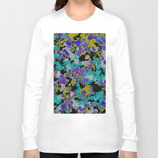 Dark Splatter - Abstract, paint splatter pattern in black, cyan, yellow, white and green Long Sleeve T-shirt
