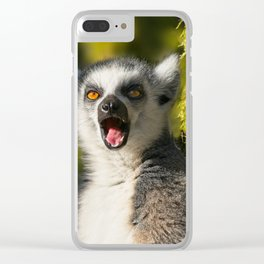 Yawning Ring-Tailed Lemur Clear iPhone Case