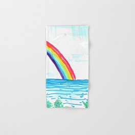 rainbow in the beach Hand & Bath Towel