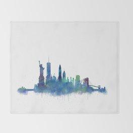 NY New York City Skyline NYC Watercolor art Throw Blanket