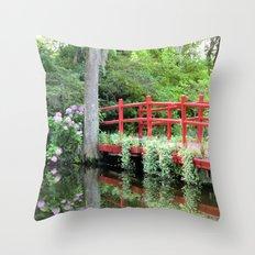 Red Bridge over the Magnolia Swamp Throw Pillow