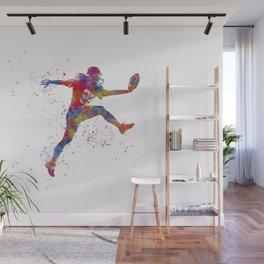 American football player in watercolor Wall Mural