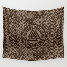 Valknut Symbol and Runes on Celtic Pattern on Wood Wall Tapestry