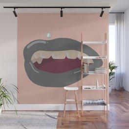 Grey Lips Wall Mural