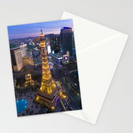 Aerial view of the Eiffel tower in Las Vegas Stationery Cards