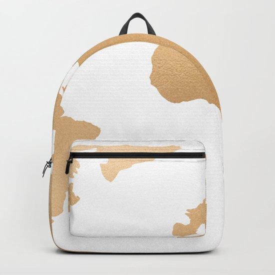 World Map Copper Bronze Gold Metallic Backpack