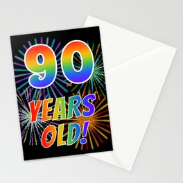 """90th Birthday Themed """"90 YEARS OLD!"""" w/ Rainbow Spectrum Colors + Vibrant Fireworks Inspired Pattern Stationery Cards"""