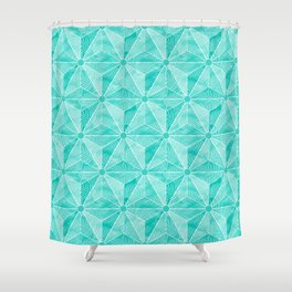 Geodesic Palm_Turquoise Shower Curtain