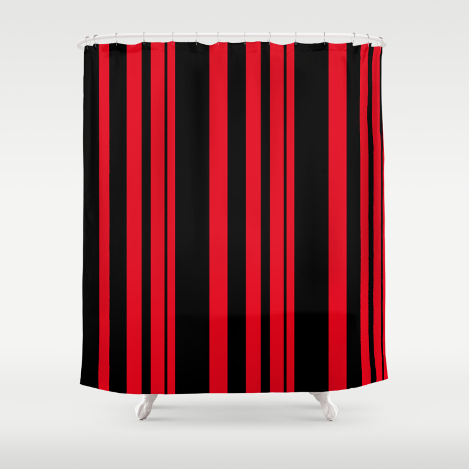Black And Red Striped Shower Curtain