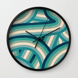 Teal Vintage Faded 70's Style Rainbow Stripes Wall Clock