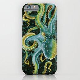 Green Octopus Vintage Map Dark Green iPhone Case