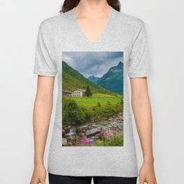 Alpine summer, Austria Unisex V-Neck