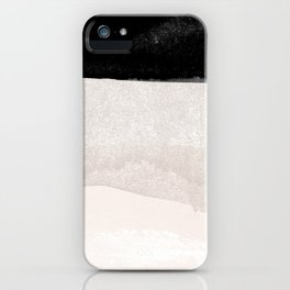 Modern hand painted black mauve pink ivory brushstrokes pattern iPhone Case