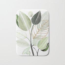 Forest Bouquet - Green Leaves Watercolor Bath Mat