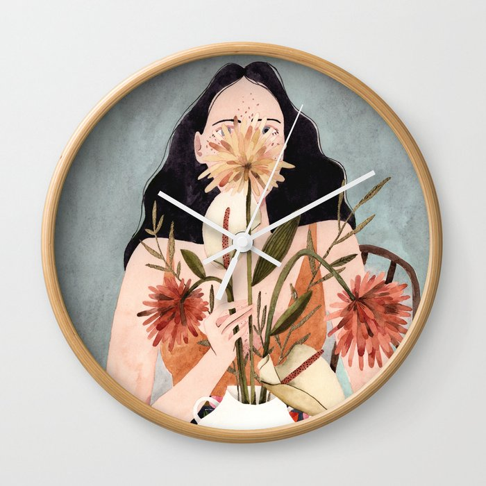 Hilda with vase Wall Clock