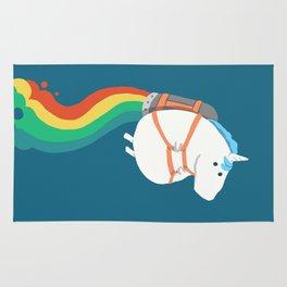 Fat Unicorn on Rainbow Jetpack Rug