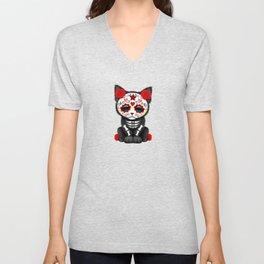 Cute Red Day of the Dead Kitten Cat Unisex V-Neck