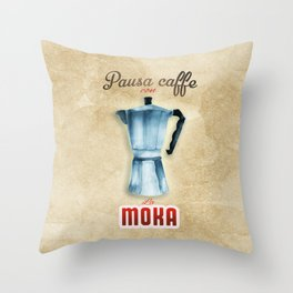 Cafe Poster: Coffee Break with Moka Throw Pillow