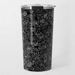 Crazy monsters in a crowded pattern Travel Mug