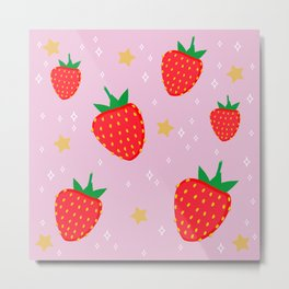 Strawberry kawaii Metal Print