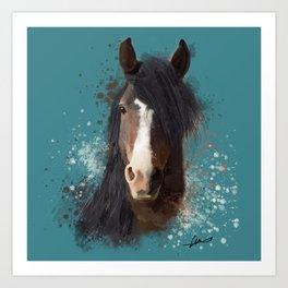 Black Brown Horse Artwork Art Print