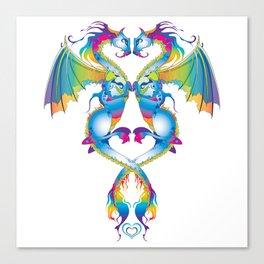 Rainbow Love Dragons Canvas Print