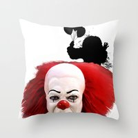 pennywise Throw Pillows featuring Pennywise the Clown: Monster Madness Series by SB Art Productions