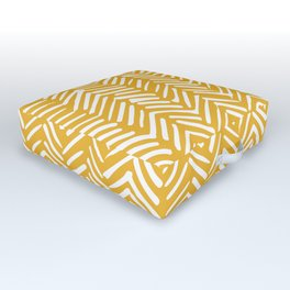Boho Mudcloth Pattern, Summer Yellow Outdoor Floor Cushion