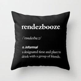 Rendezbooze black and white contemporary minimalism typography design home wall decor black-white Throw Pillow