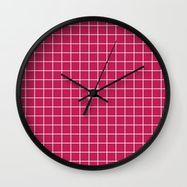Rose red - violet color - White Lines Grid Pattern Wall Clock