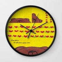 coasters Wall Clocks featuring Grumpy Bear - Coasters by Shereen Yap