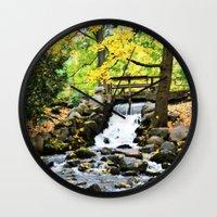 waterfall Wall Clocks featuring Waterfall by Juliana RW